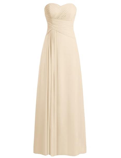 eb60e779187 JAEDEN Sweetheart Bridesmaid Dresses Chiffon Long Prom Evening Gown Pleat  Champagne L