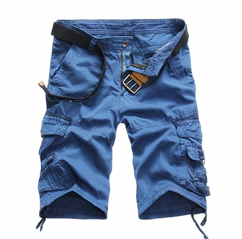 GARMOY Men's Cargo Shorts Camouflage Multi Pockets Twill Fit Breathable Summer Loose Outdoor Shorts Blue-34 ()