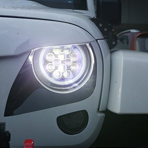 Opar 7 Inch Led Halo Headlights With Blue Drl Angel Eyes