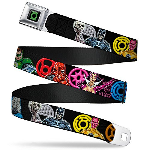 Buckle-Down Seatbelt Belt - Green Lantern-The Blackest Night Heroes & Villains Pose/Electric Logos - 1.0
