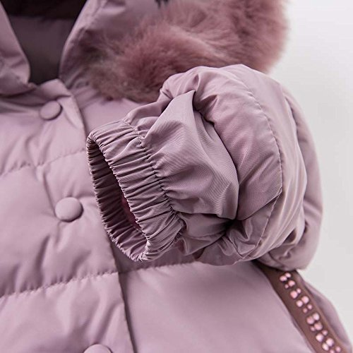 DAVE & BELLA Winter Baby Girls Down Jacket Children White Duck Down Padded Coat Kids Hooded Outerwear - Grey Pink (4T) by DAVE & BELLA (Image #7)
