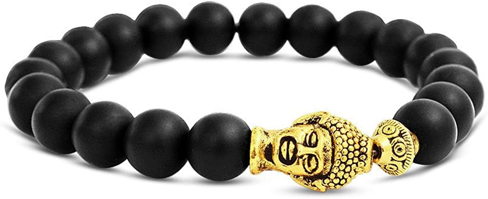 Bling Jewelry Buda Estilo Ónix Negro Cordón Redonda Estirar Beads Pulsera Elastica Mujer Y para Hombres De Latón Chapado En Oro
