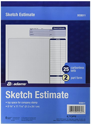 Adams Grid Sketch Book, Carbonless, 8.38 x 11.44 Inches, White and Canary, 2-Part, 25 Sets -