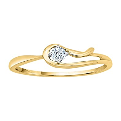 Diamond Wedding Band in 10K Yellow Gold Size-9 1//10 cttw, G-H,I2-I3