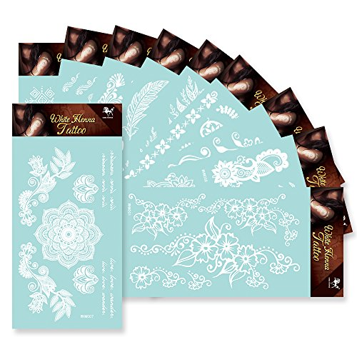 KINGHORSE 10 Sheets White Lace Temporary Tattoos,Removable Arm Shoulder Body Decor Flash Tattoo Stickers with Wedding Bridal Butterfly Mandala Flower Design