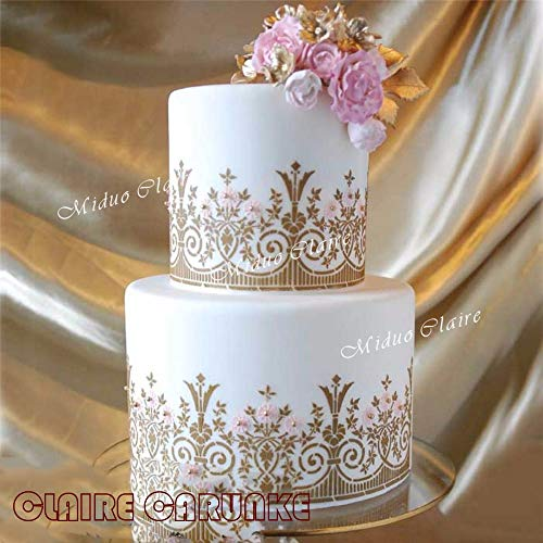 Newest English garden stencil cake stencil Fondant Cake and Chocolate Painting Molds wedding Cake border decorations ()