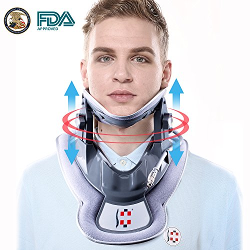 Hangsun Cervical Neck Traction Device and Inflatable Adjustable Neck Brace Collar, Patented FDA Approved Medical Therapy Unit for Neck Pain Relief by Hangsun