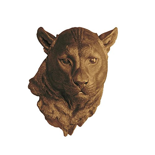Faux Mountain Lion Head by Wall Charmers | Bronze Fake Ceramic Cougar Animal Decorative Resin Mounted Replica Panther Plastic Cat - Bronze Art Cat