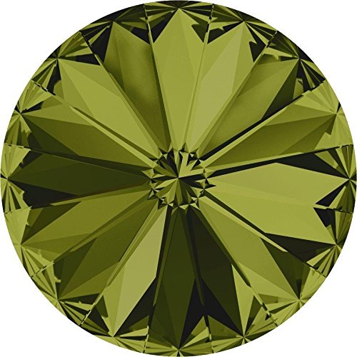 Swarovski Square Beads Ab - 1122 Swarovski Chatons & Round Stones Rivoli Olivine | SS39 (8.3mm) - Pack of 10 | Small & Wholesale Packs