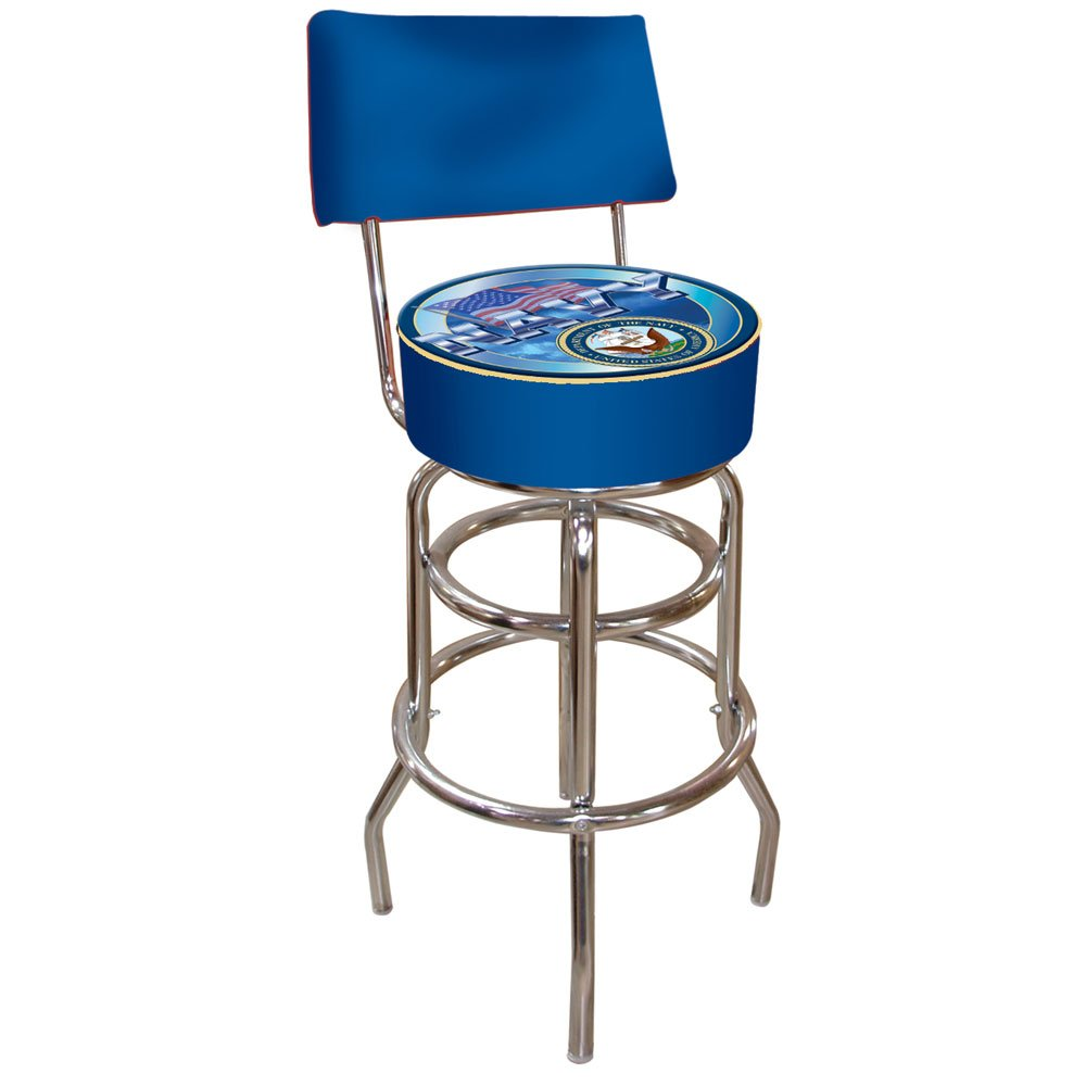 United States Navy Padded Bar Stool with Back