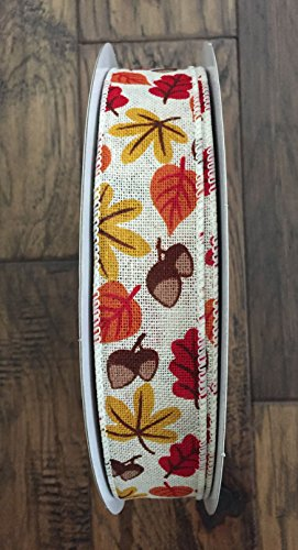 Fall Autumn Thanksgiving Leaves Acorns Wired Ribbon 1.5