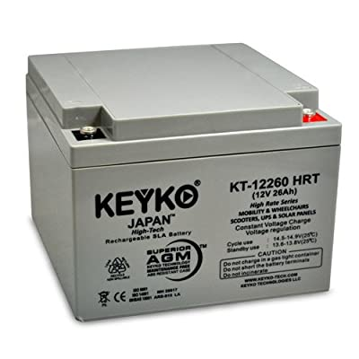 Teledyne 2TC12S20 12V 26Ah Battery - Fresh & Real 28.0 Amp - Deep Cycle AGM/SLA Seal Lead Acid Designed for Lighting - Genuine KEYKO KT-12260 HRT - Threaded T0 Terminal - P