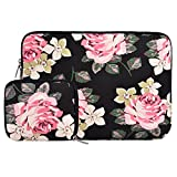 MOSISO Laptop Sleeve Bag Only Compatible MacBook 12-Inch with Retina Display 2017/2016/2015 Release with Small Case, Canvas Fabric Rose Pattern Protective Carrying Cover, Black