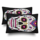 InterestPrint Sugar Skull Day of the Dead Mexican Dia De Los Muertos Flower Pillow Cases Pillowcase Queen Size 20x30 Set of 2, Rectangle Pillow Covers Protector for Home Couch Sofa Bedroom Decoration