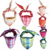 Tail Trends 4 Pack Pet Dog Bandanas Triangle Bib Scarf Assortment of Designs Available - 100% Cotton