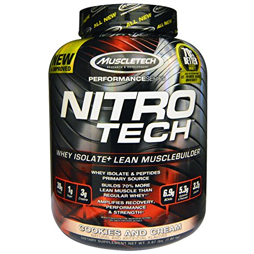 Muscletech, Nitro Tech, Whey Isolate + Lean Musclebuilder, Cookies and Cream, 3.97 lbs (1.80 kg) - - Nitro Cookies Tech