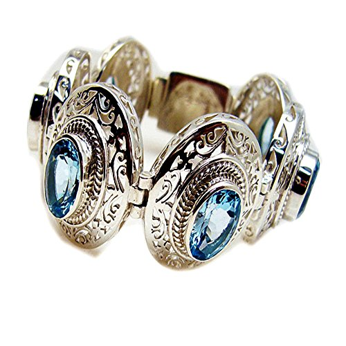 Natural Blue Topaz Sterling Silver Bracelet For Women December Birthstone Astrological Gift L 6.5-8 Inch
