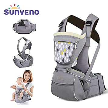 979c68089f0 Amazon.com   SUNVENO Baby Hipseat Carrier 3 in1 Infant Comfort Ergonomic  Waist Stool Baby Hip Carrier Seat(Gray)   Baby