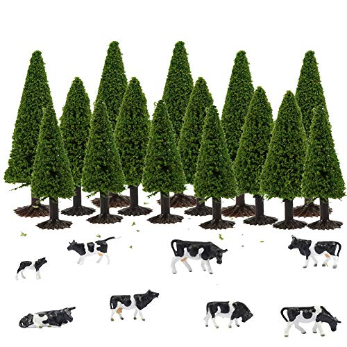 S0701 15pcs Dark Green Pine Model Cedar Trees and 8pcs Model Cows for Model Railroad Scenery Landscape Layout HO OO Scale New