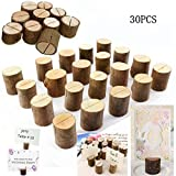 Dproptel Rustic Real Wood Base Wedding Table Name Number Holder Party Decoration Card Holders Picture Memo Clip Note Photo Clip Holder - 30 PCS Pack