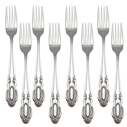 Bestton Vintage 18/0 Stainless Steel Mirror Polish Dinner Forks of 8, Flatware Set Dinner Fork Table Fork, 8.2-Inch…