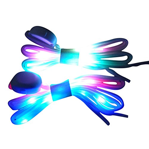 MadeComfy LED Shoelaces Light Up Laces 3 Modes 7 Colors Flashing Colorful Shoestrings]()