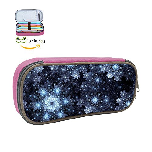 (Stars Lines Dark Shadow Pencil Case, Homecube Big Capacity Pen Bag Makeup Pouch Durable Students Stationery With Double Zipper,Pink)