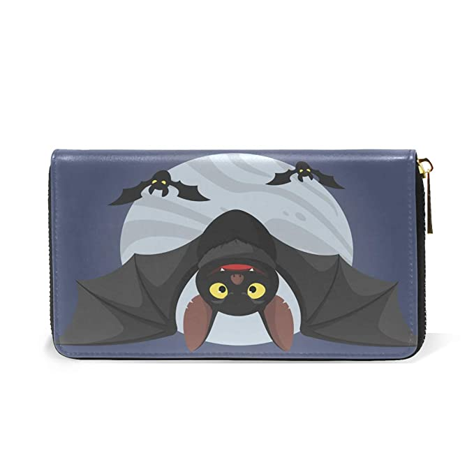 Amazon.com: Halloween Moon Bat - Monedero de piel con ...