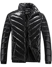 Men Winter Fashion Stand Collar Windproof Padded Puffer Jacket Shiny Coat Outwear