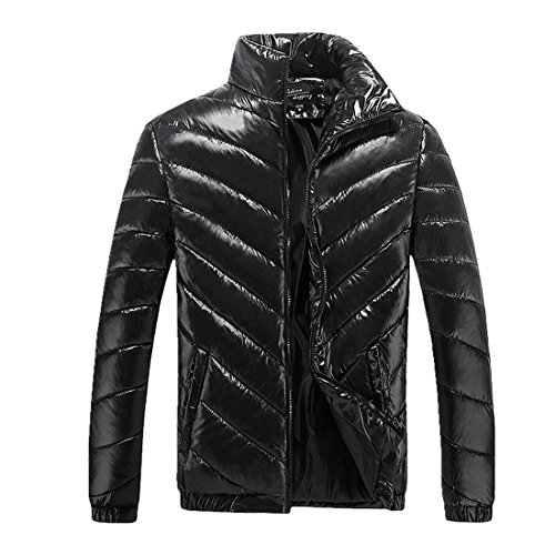 Piumino Antivento Imbottito Inverno Lucido Uomo Pelo Moda Nero Collare Outwear Basamento Del Chenma nY8q4Ax0