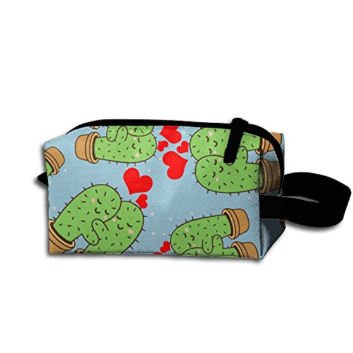 Cactus Couple 3D Pattern Printed Portable Cosmetic Bag Grooming Makeup Bag by Packing NH0