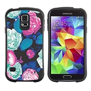 LASTONE PHONE CASE / Suave Silicona Caso Carcasa de Caucho Funda para Samsung Galaxy S5 SM-G900 / Pattern Green Begonia Blue Pink