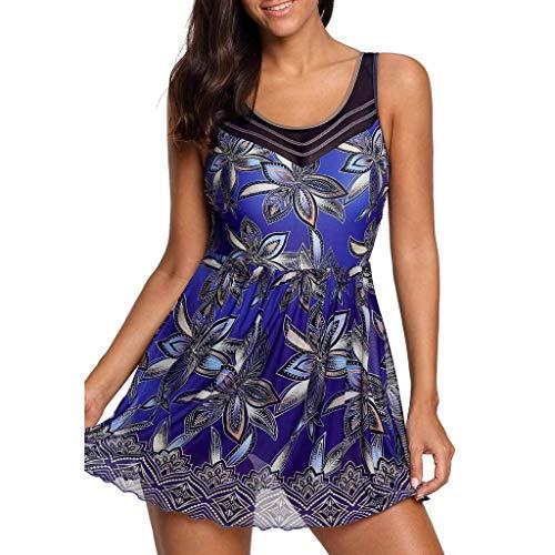 Women Solid Swimwear Two Piece, Lady Push Up Tankini Monokini Padded Swimsuit Bikini Sets Bating Suit Beachwear Clearance Sale (Dark Blue, XL) ()