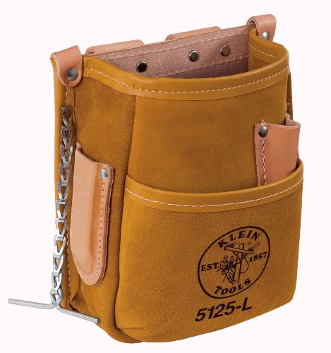 Klein Tools 5125L 5-Pocket Tool Pouch with Tape Thong, - Canvas Thongs