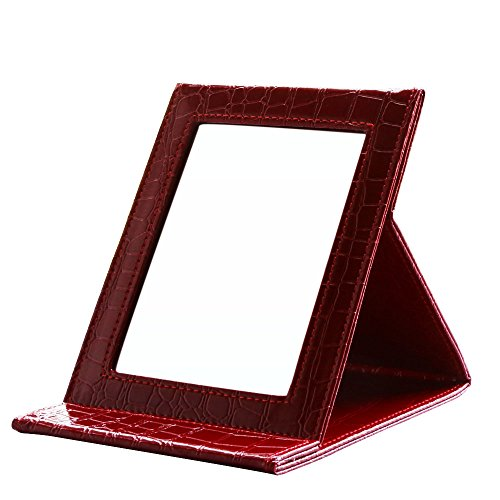 KINGFOM Portable Folding Vanity Mirror with Stand Pu Leather Cover Tabletop Makeup Mirror Large(Red Croco)