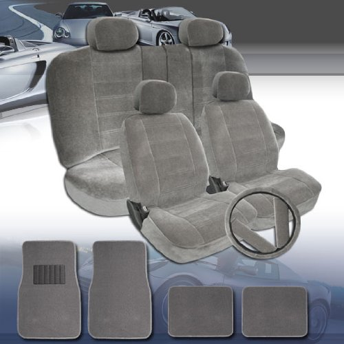 New Design Premium Grade Universal Size Car Seat Covers with Car Floor Mats Steering Wheel Cover and Seat Belt Cover Set, Rear Cover Support 50/50, 60/40 Split Seats and Center Console- Grey Color (Rear Center Seat Belt)