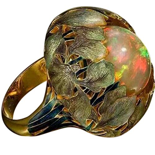 (Fxbar Women Vintage Flower Rings Jewelry Chic Opal Engagement Band Couple Unique Personalized Anniversary Present (Multicolor,9) )