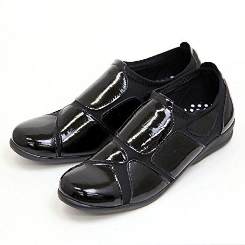 ストレッチシューズ レディース 歩きやすい 外反母趾 靴 ウォーキングシューズ エナメルSC1802 ブラック Lサイズ