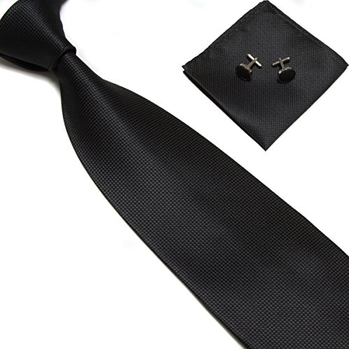 Stylefad Men's Solid Plaid Wide Neck Tie Set Hanky Cufflink Black