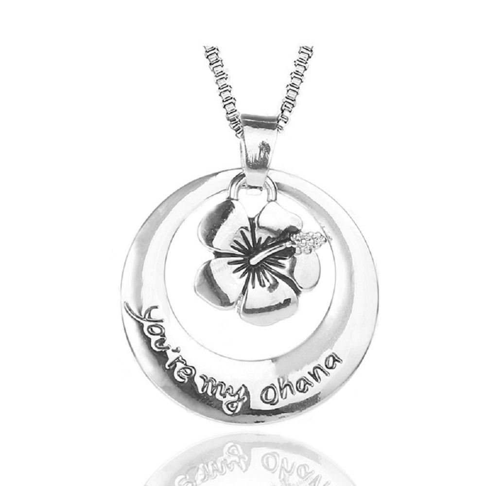 *UK* Silver-Tone You're My Ohana Engraved Pendant Necklace 2.5cm Diamater With 18 Inch Chain Lilo And Stitch Flower Means Family Cadoline 265
