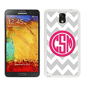 Beautifulcase Personalized Gray Chevron Pink Monogram Samsung Galaxy Note 3 case cover Christmas Gifts White Cover LTi4W3ggScB from xilaile