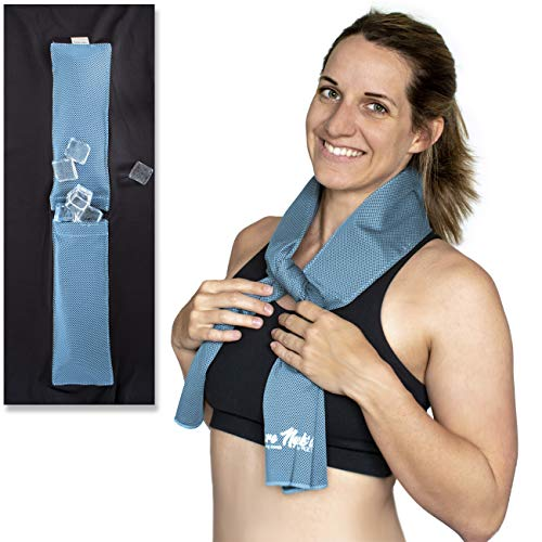 Bare Neckd Ice Cooling Towels with Insulated Ice Pockets - Instant Relief Large Cooling Towels for Athletes Sports Fitness Gym Yoga Hiking Travel Hot Flashes   Reusable Wrap Around Ice ()