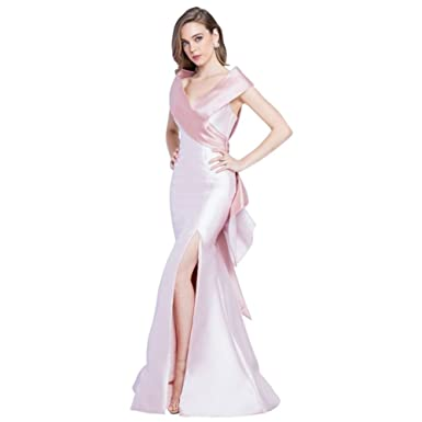 Davids Bridal Portrait Collar Mikado Prom Dress with Cascading Ruffle Style 1721E4147.