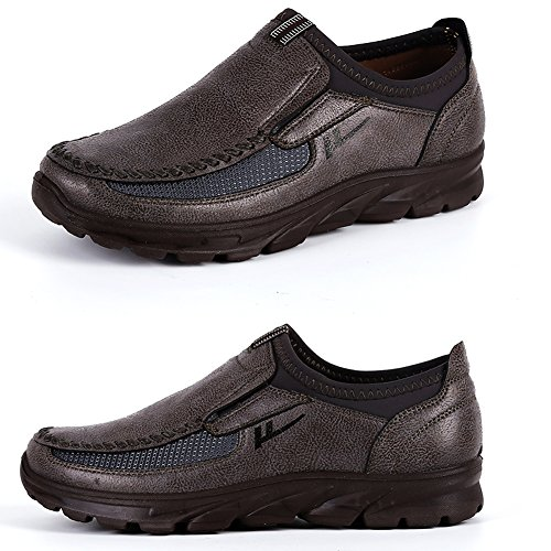 MAIZUN Large Size Loafer Shoes for Men Walking Shoes Fashionable and succinct Leisure Business Work Shoes Brown