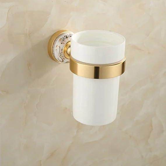 CF Escobilla para Inodoro portavasos de Aluminio escobilla para Inodoro de Porcelana Dorada, Estilo Europeo, Antigua de Pared para cepillos de tocador: ...