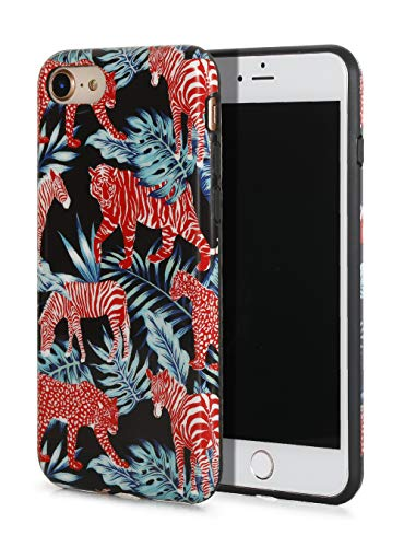 SunshineCases【Red Jungle Animals & Palm Leaves】 Flexible, Thin, Non-Slip Case Design【Compatible: Apple iPhone 8 & iPhone 7】 -