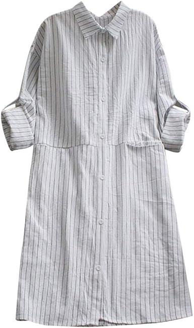 Vestidos Mujer Casual, Lunule Vestido de Manga Larga de algodón y Lino Vestidos de Fiesta con Bolsillos a Rayas Camisas Vestidos Camisetas Blusas Tops para Mujer: Amazon.es: Ropa y accesorios