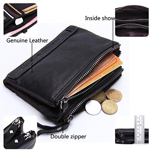 Bifold Zip Tasca Uomo Contatti A In Vera Portamonete Pelle Con Da Doppia Black 4C4wPqX