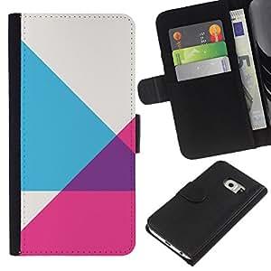 Samsung Galaxy S6 EDGE / SM-G925(NOT FOR S6!!!) Modelo colorido cuero carpeta tirón caso cubierta piel Holster Funda protección - Purple Grey Pink Pattern Abstract