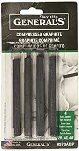 Compressed Graphite Sticks 4/Pkg-Black - Assorted